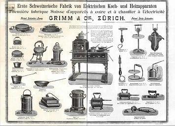 1898 Catalogue Grimm, première fabrique Suisse d'appareils à cuire et à chauffer à l'électricité