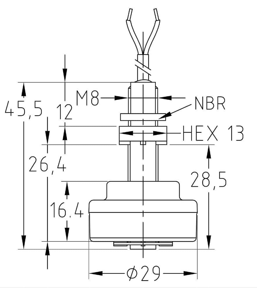 Vertical Mounting Reed Switch Contact Polypropylene Stem With M8 Wiring Diagram Dimensions