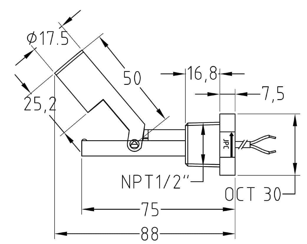 Horizontal Mounting Reed Switch Contact Pbt Stem Hollow Float Wiring Diagram Dimensions