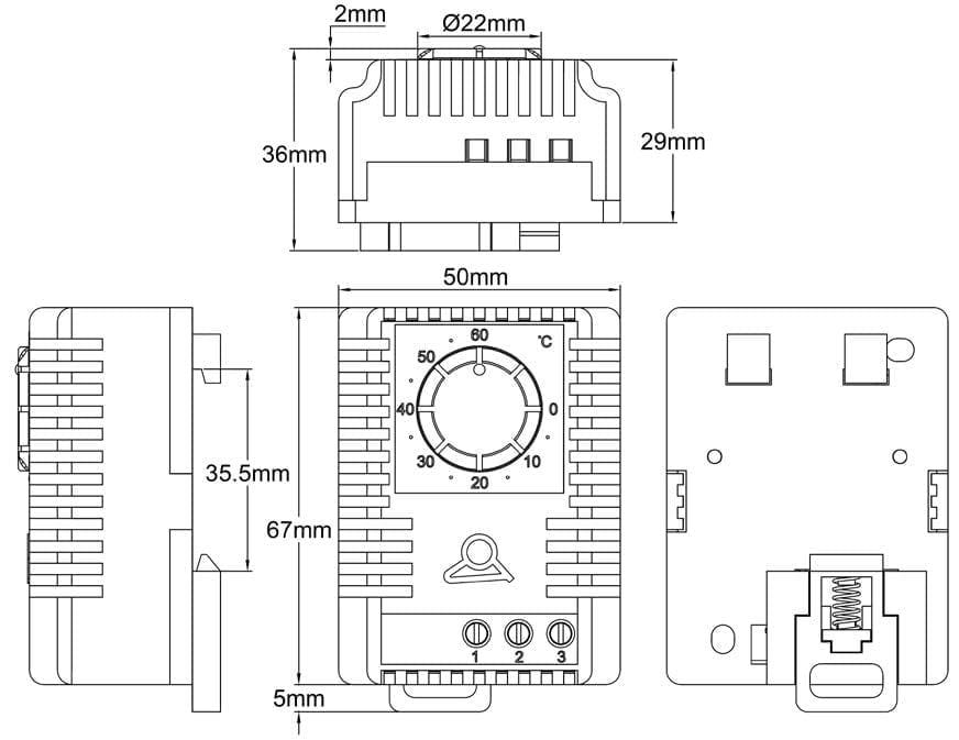 Enjoyable Din Rail Mounting Miniature Humidistat For Electrical Cabinets Jpc Wiring Digital Resources Minagakbiperorg
