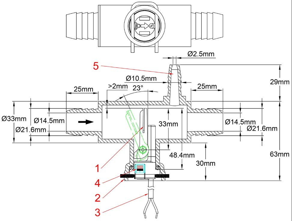 paddle flow switches  reed switch contact  inside barbed