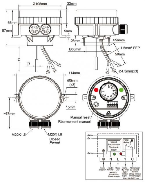 Adjustable Electronic Manual Reset Limiter For Immersion Heater Ip66