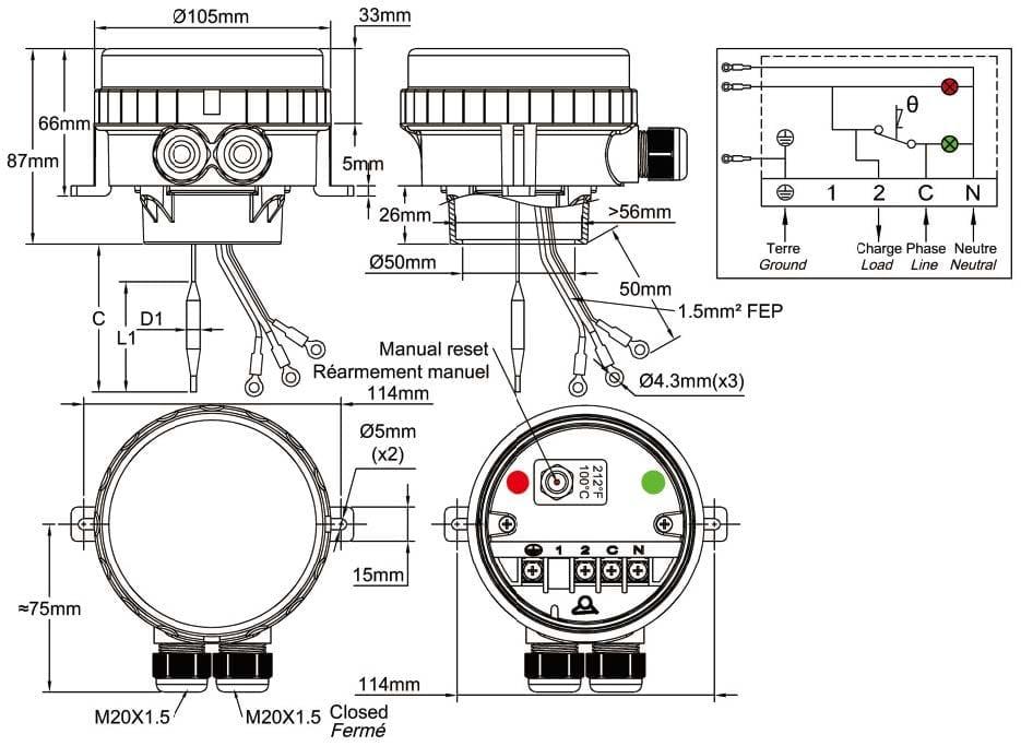 Manual reset immersion heater limiter IP66, IK10 - JPC France on