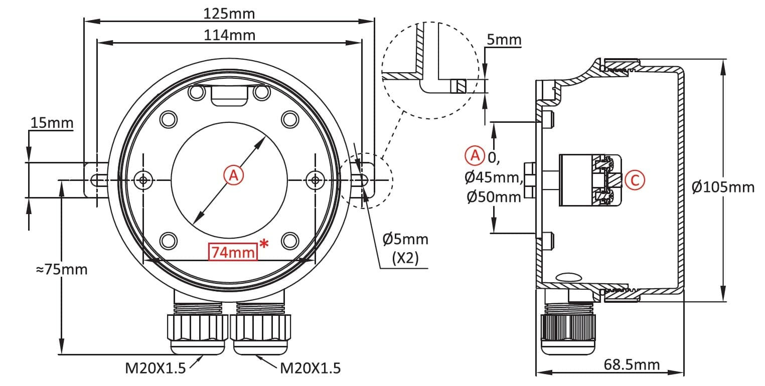 immersion heater  level sensor or temperature sensor enclosure  in pa66 and pc  y3f2