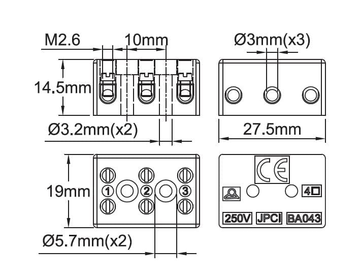 steatite connection blocks  250v range with pressure